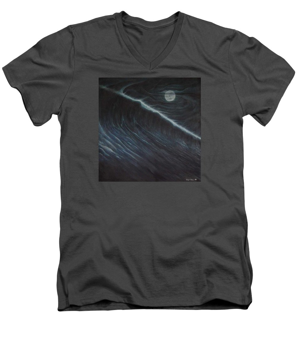 Seascapes Men's V-Neck T-Shirt featuring the painting Tsunami by Angel Ortiz