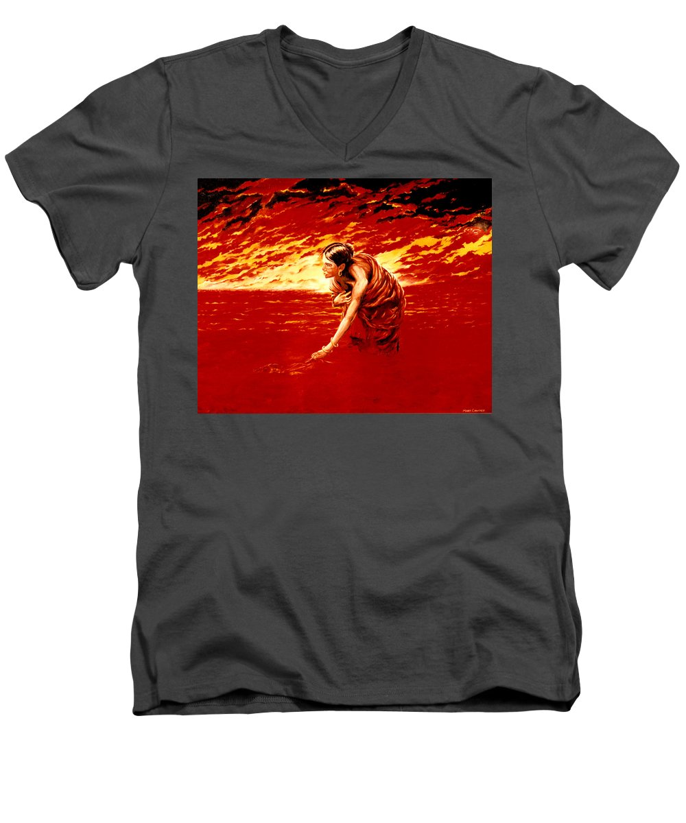 Seascape Men's V-Neck T-Shirt featuring the painting Tsunami by Mark Cawood