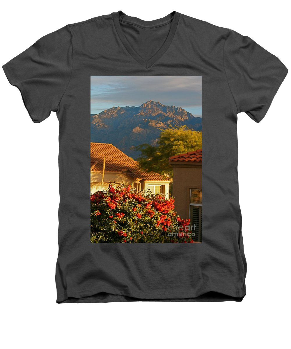 Mountains Men's V-Neck T-Shirt featuring the photograph Tucson Beauty by Nadine Rippelmeyer
