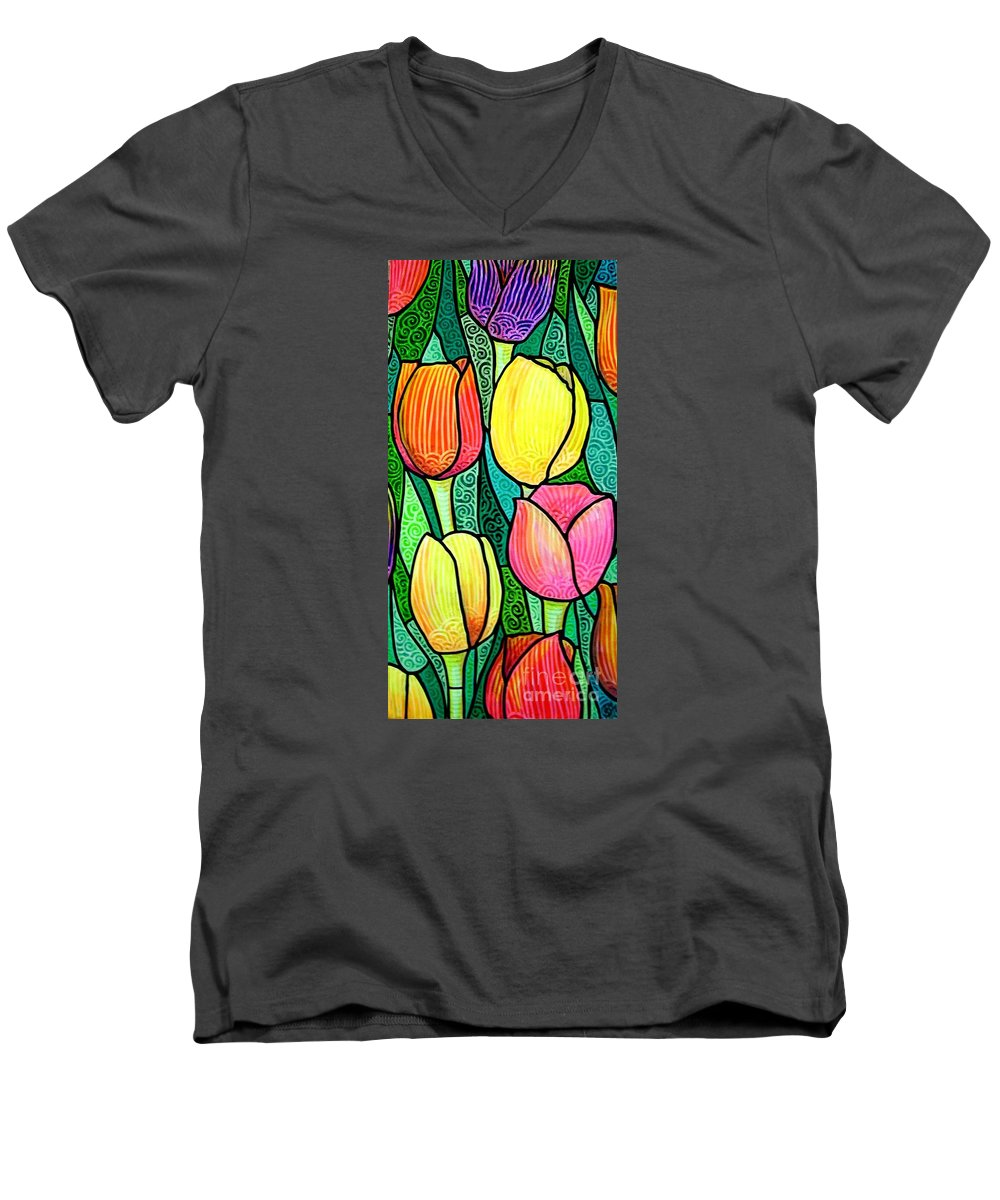 Tulips Men's V-Neck T-Shirt featuring the painting Tulip Expo by Jim Harris