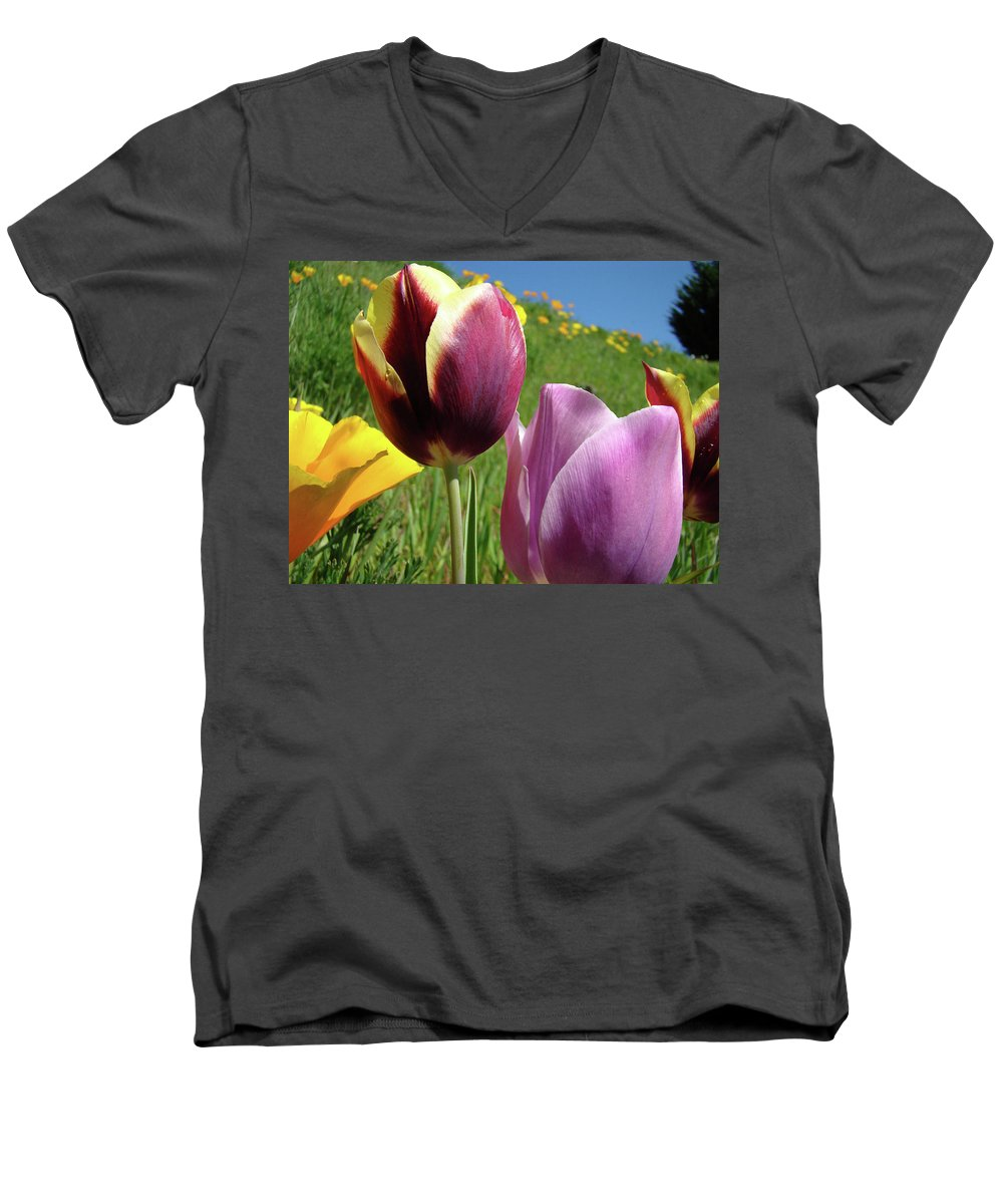�tulips Artwork� Men's V-Neck T-Shirt featuring the photograph Tulips Artwork Tulip Flowers Spring Meadow Nature Art Prints by Baslee Troutman