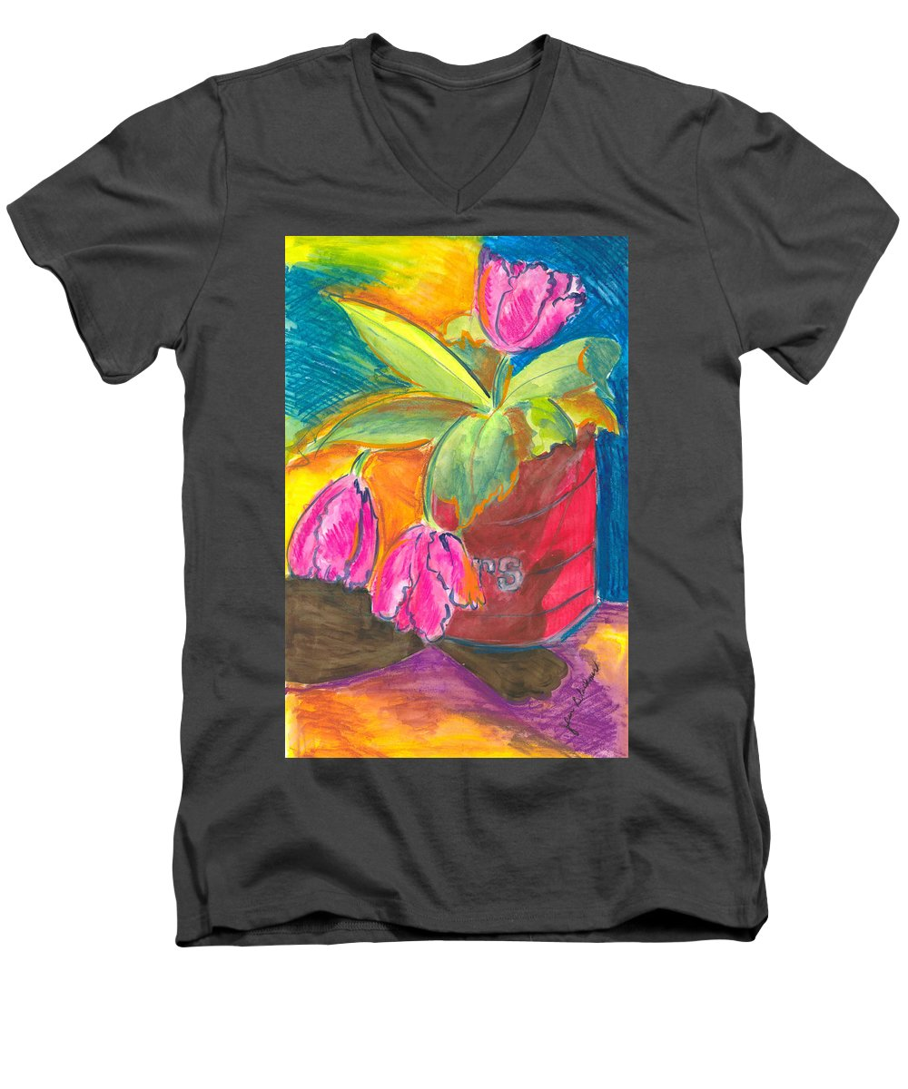 Flowers Men's V-Neck T-Shirt featuring the painting Tulips In Can by Jean Blackmer