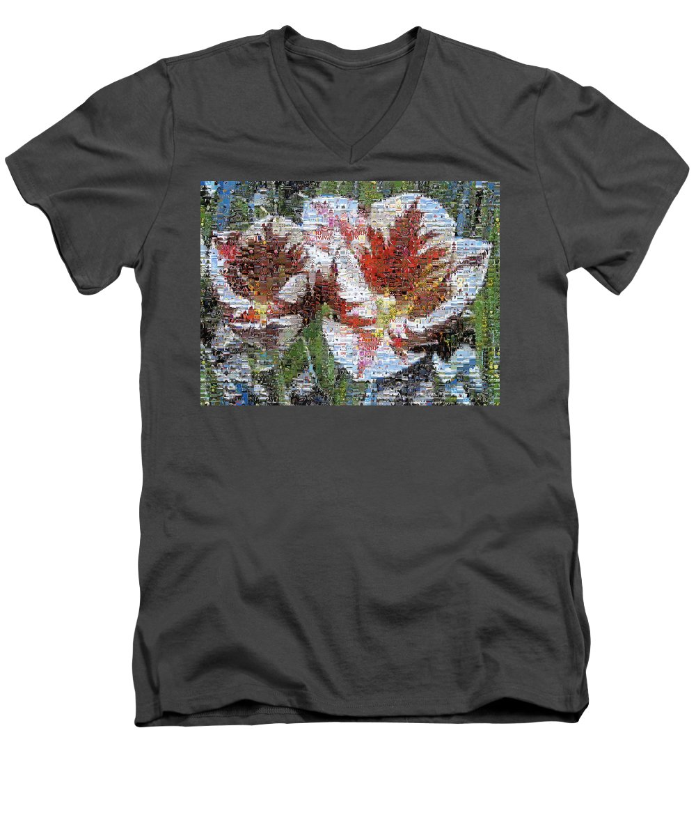 Lighthouse Men's V-Neck T-Shirt featuring the photograph Tulips In Springtime Photomosaic by Michelle Calkins