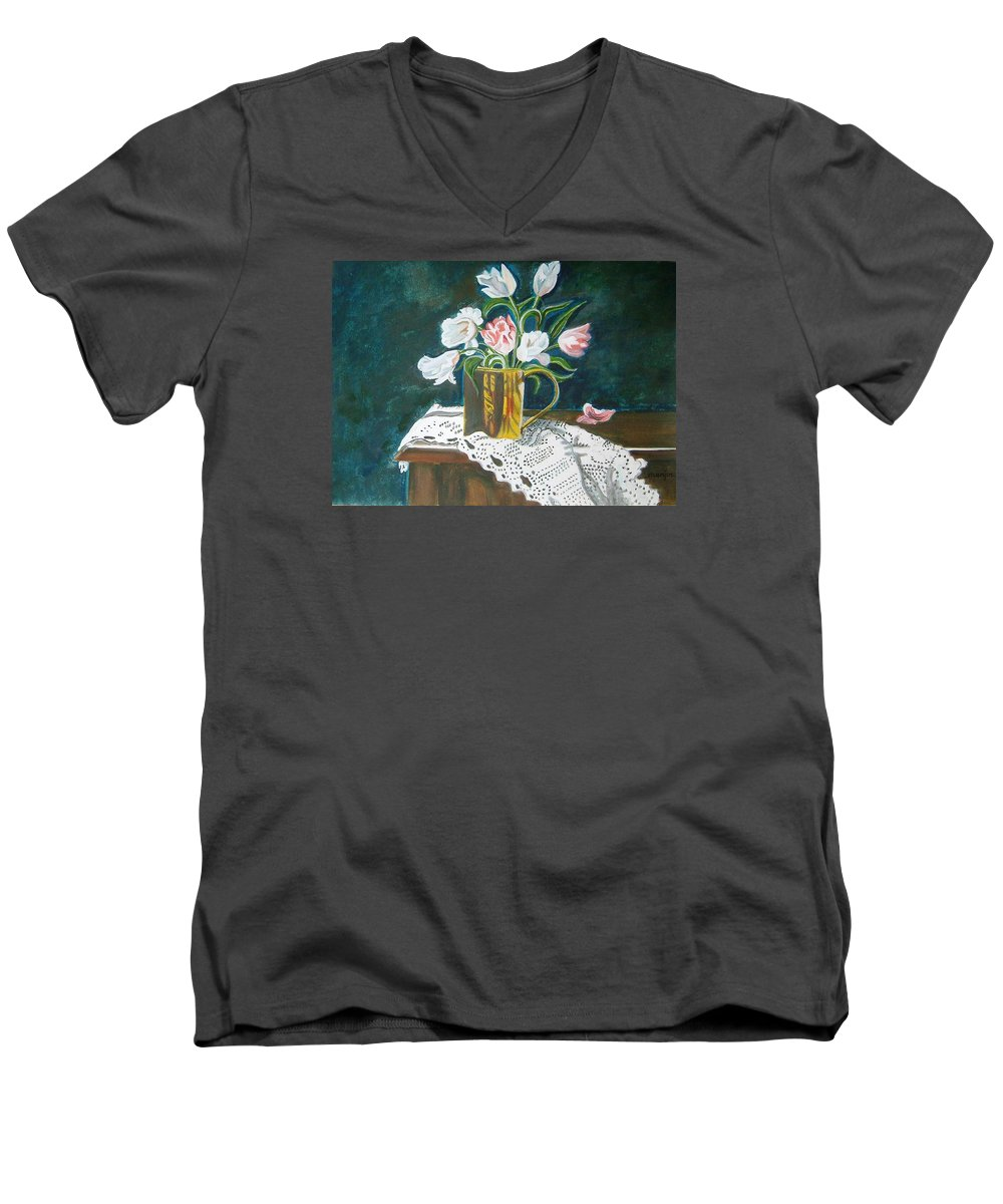 Tulips Men's V-Neck T-Shirt featuring the painting Tulips by Manjiri Kanvinde
