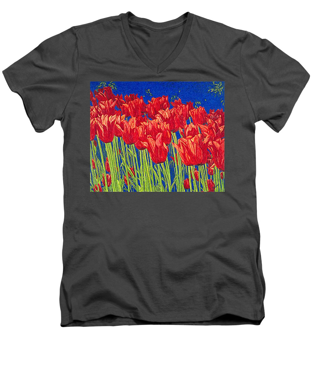 Tulips Men's V-Neck T-Shirt featuring the drawing Tulips Tulip Flowers Fine Art Print Giclee High Quality Exceptional Color Garden Nature Botanical by Baslee Troutman