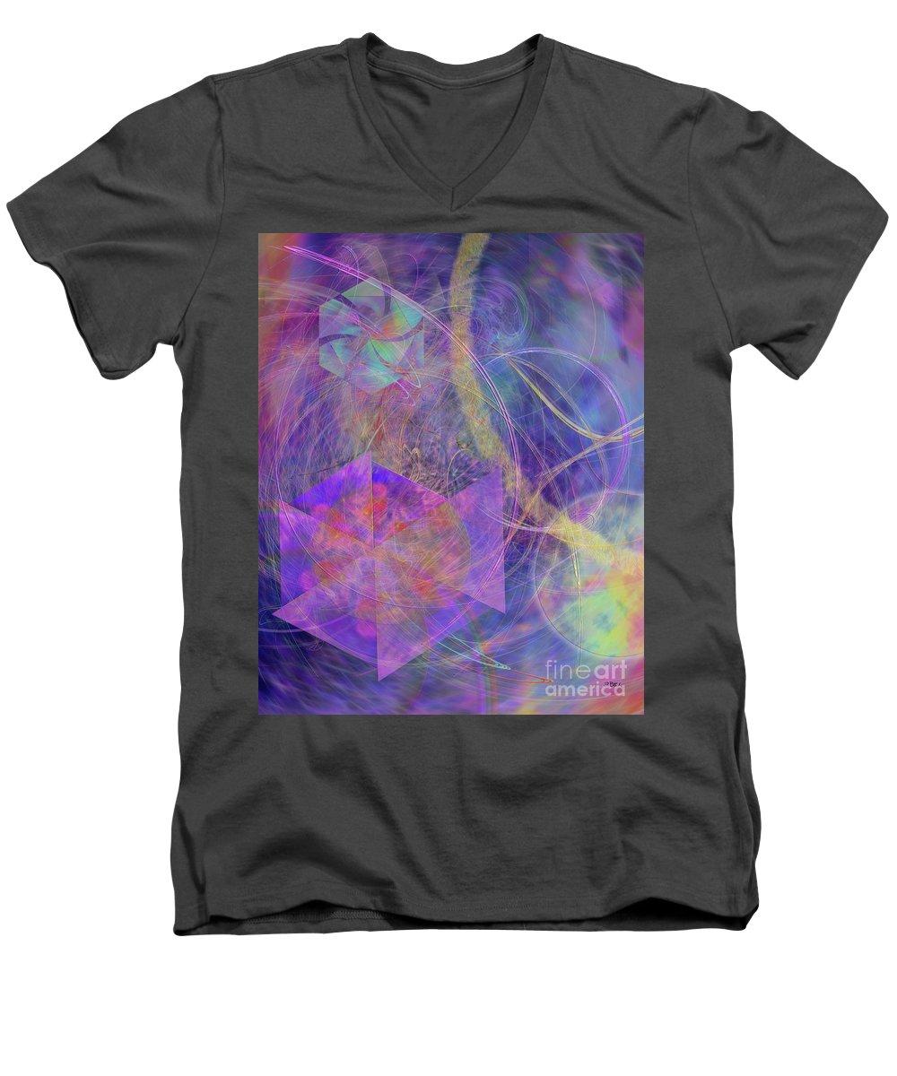 Turbo Blue Men's V-Neck T-Shirt featuring the digital art Turbo Blue by John Beck