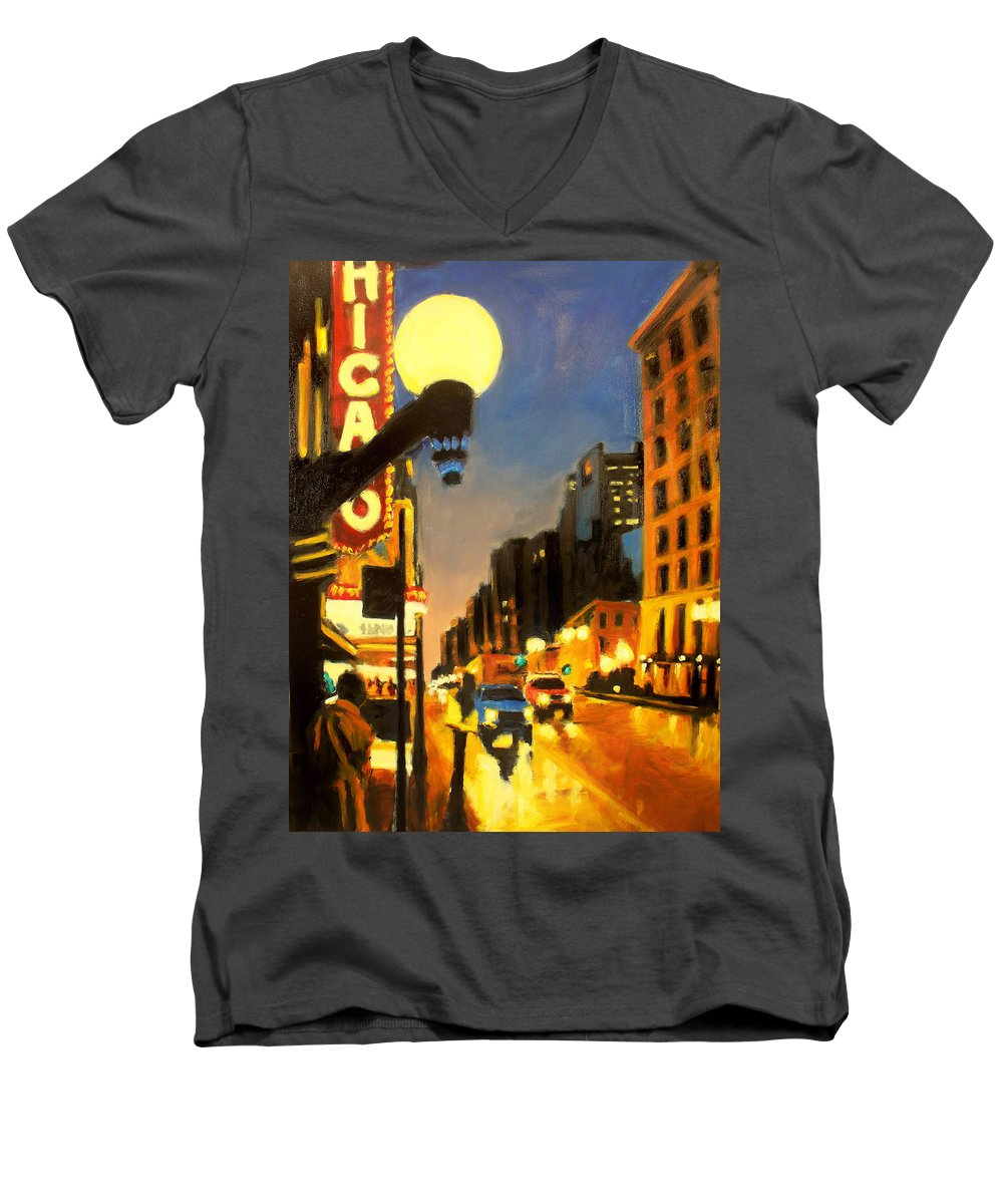 Rob Reeves Men's V-Neck T-Shirt featuring the painting Twilight In Chicago - The Watcher by Robert Reeves