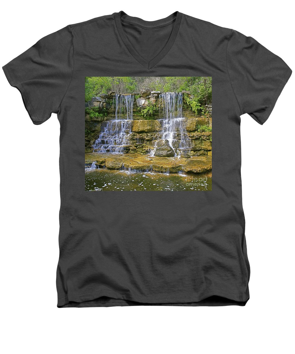 Waterfalls Men's V-Neck T-Shirt featuring the photograph Twin Falls by Robert Pearson