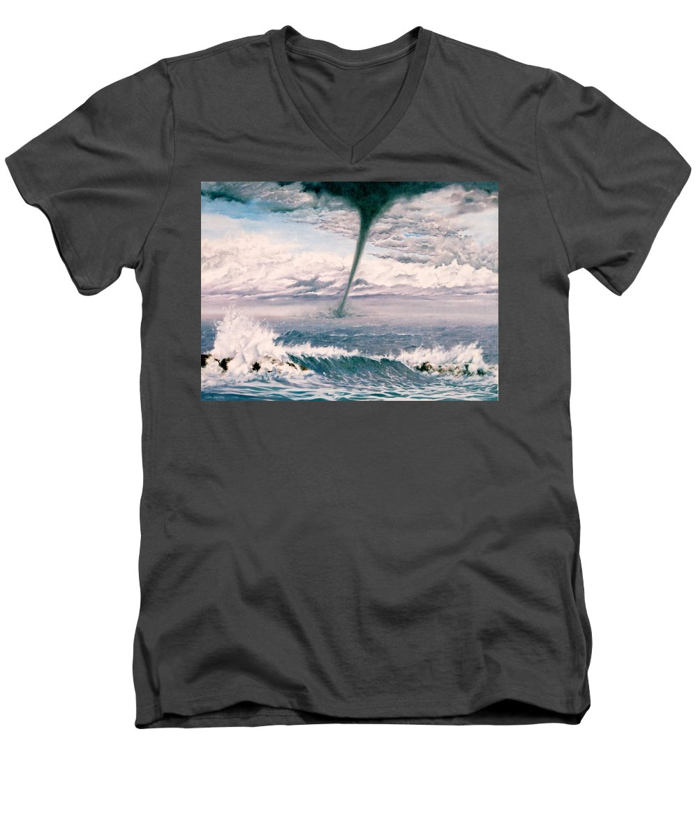 Seascape Men's V-Neck T-Shirt featuring the painting Twisted Nature by Mark Cawood