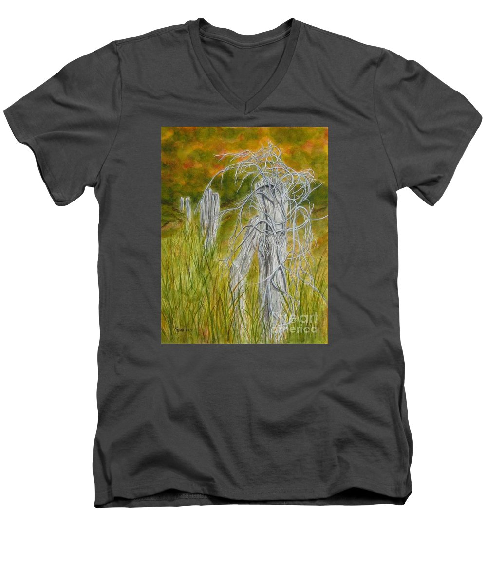 Landscape Men's V-Neck T-Shirt featuring the painting Twisted by Regan J Smith
