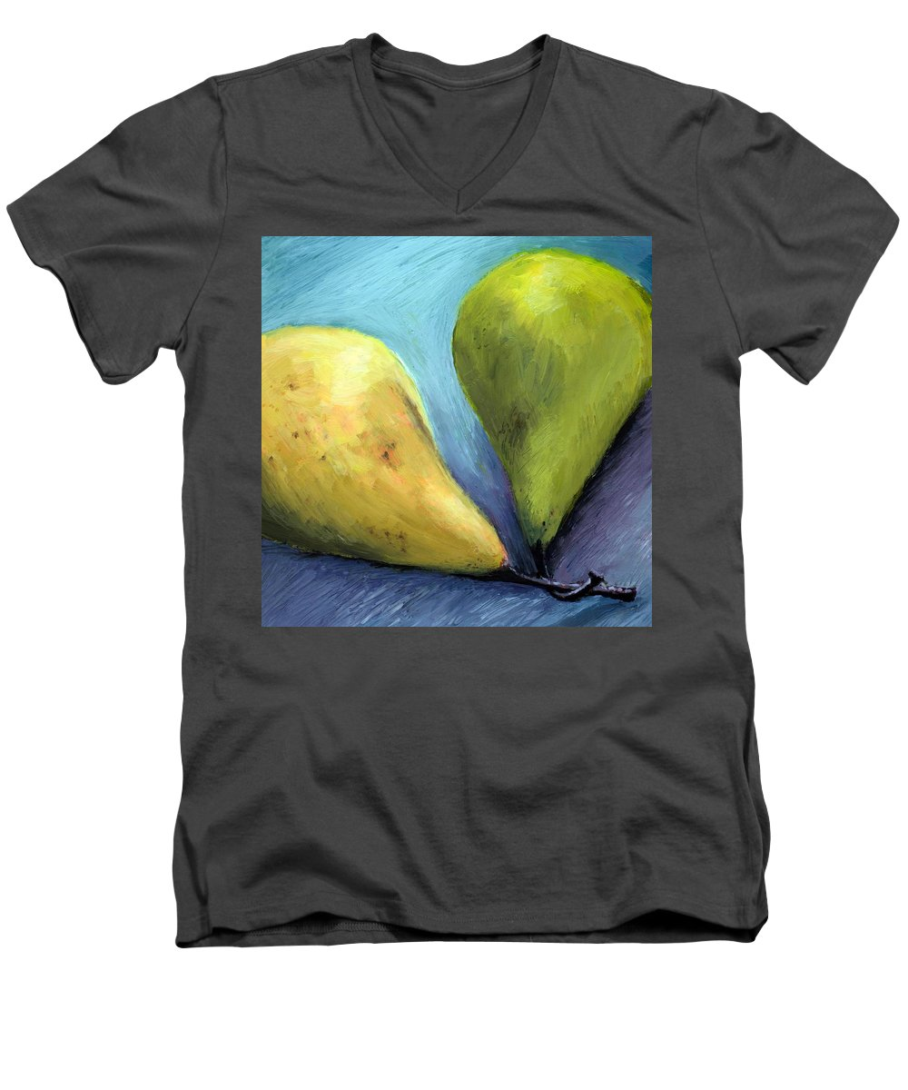 Pear Men's V-Neck T-Shirt featuring the painting Two Pears Still Life by Michelle Calkins