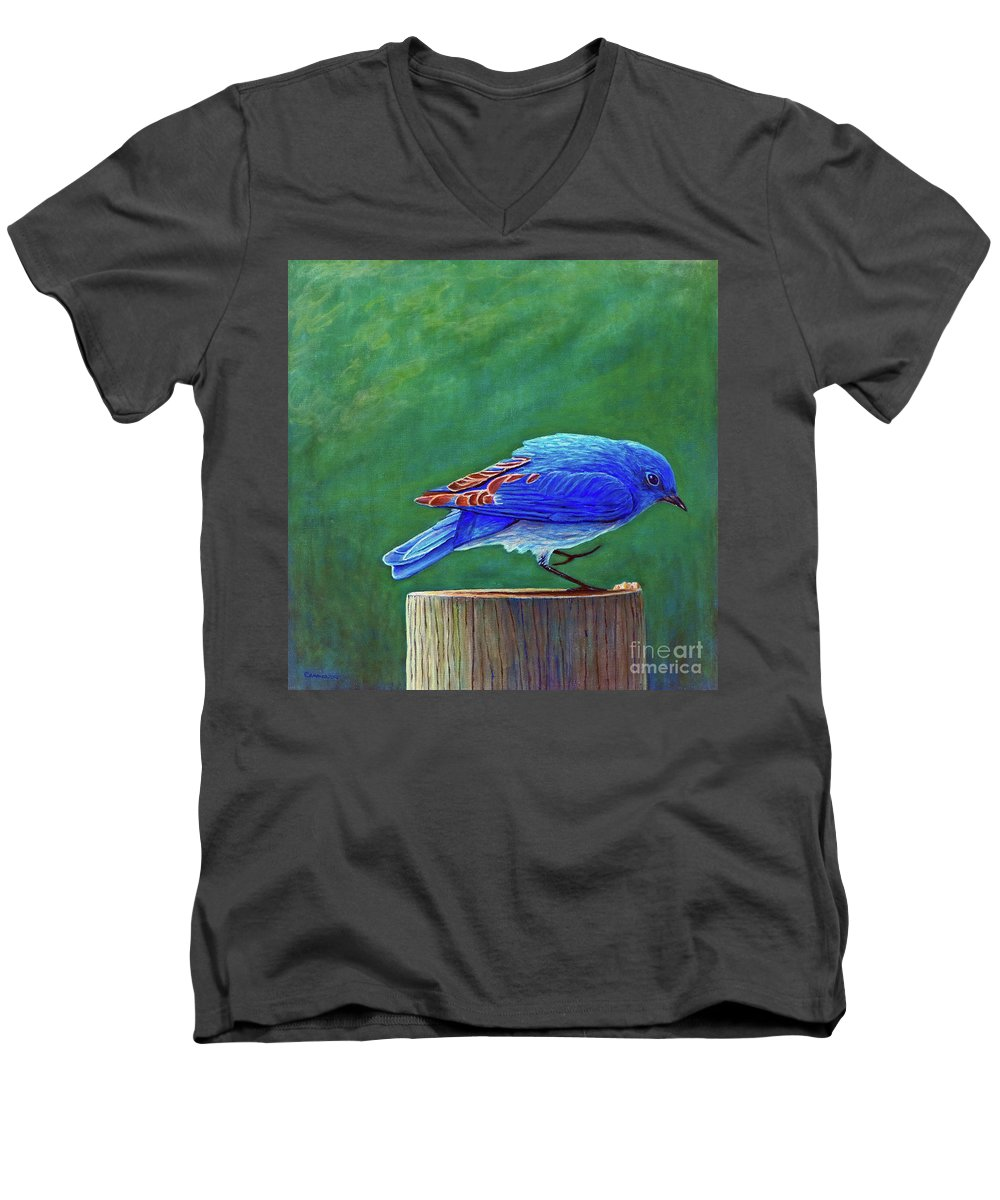 Bluebird Men's V-Neck T-Shirt featuring the painting Two Step by Brian Commerford
