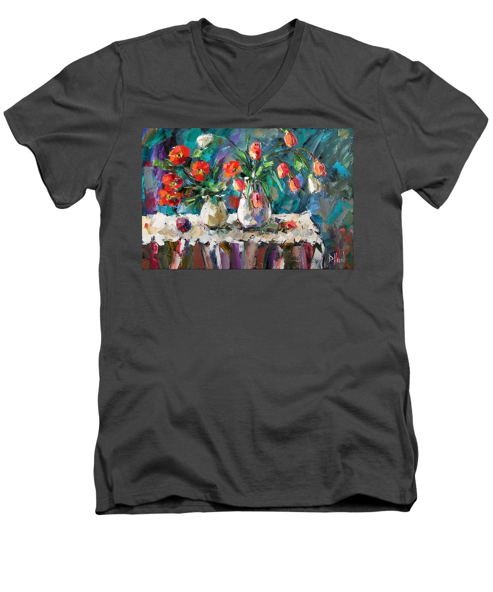 Flowers Men's V-Neck T-Shirt featuring the painting Two White Tulips by Debra Hurd