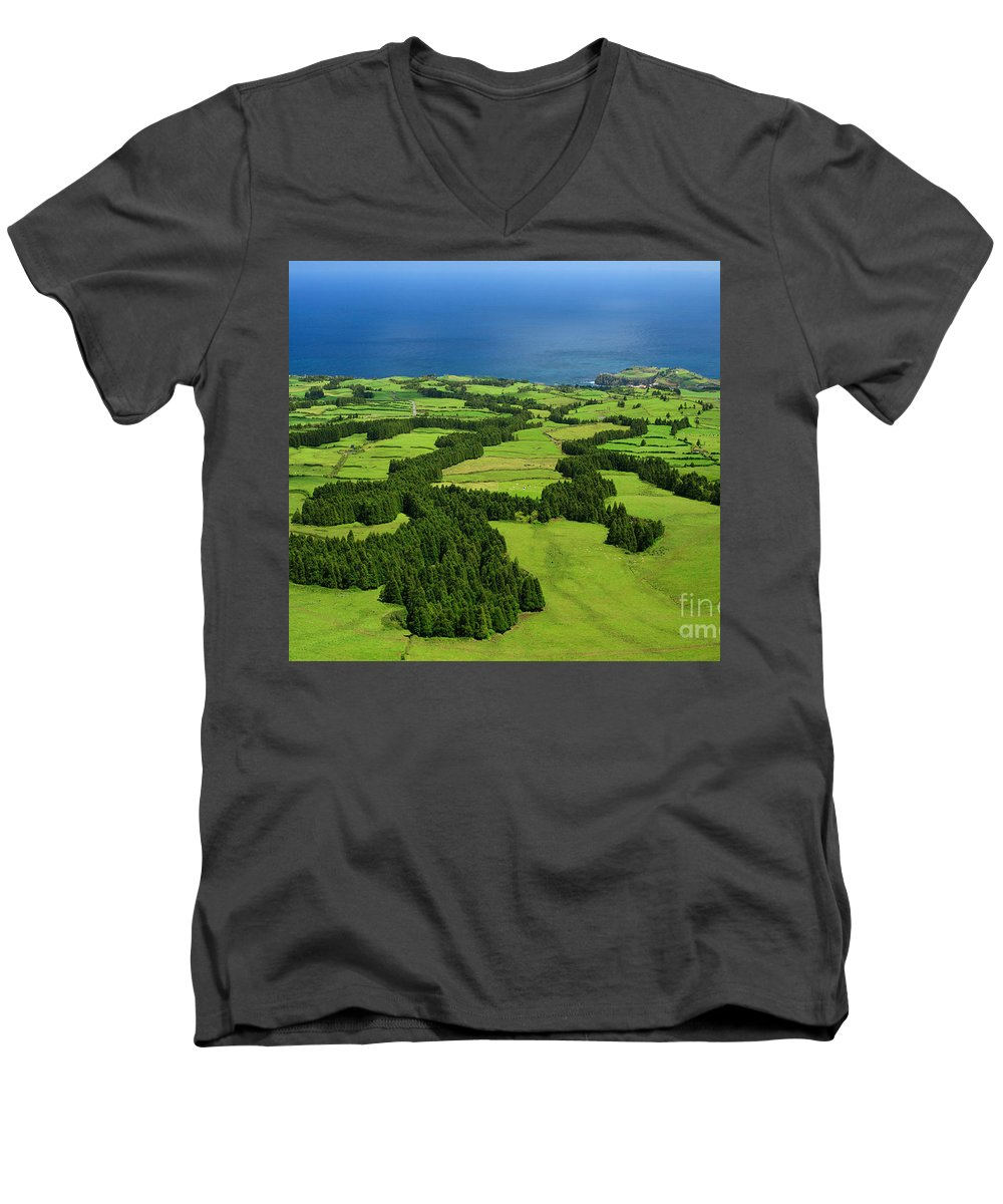 Landscape Men's V-Neck T-Shirt featuring the photograph Typical Azores Islands Landscape by Gaspar Avila