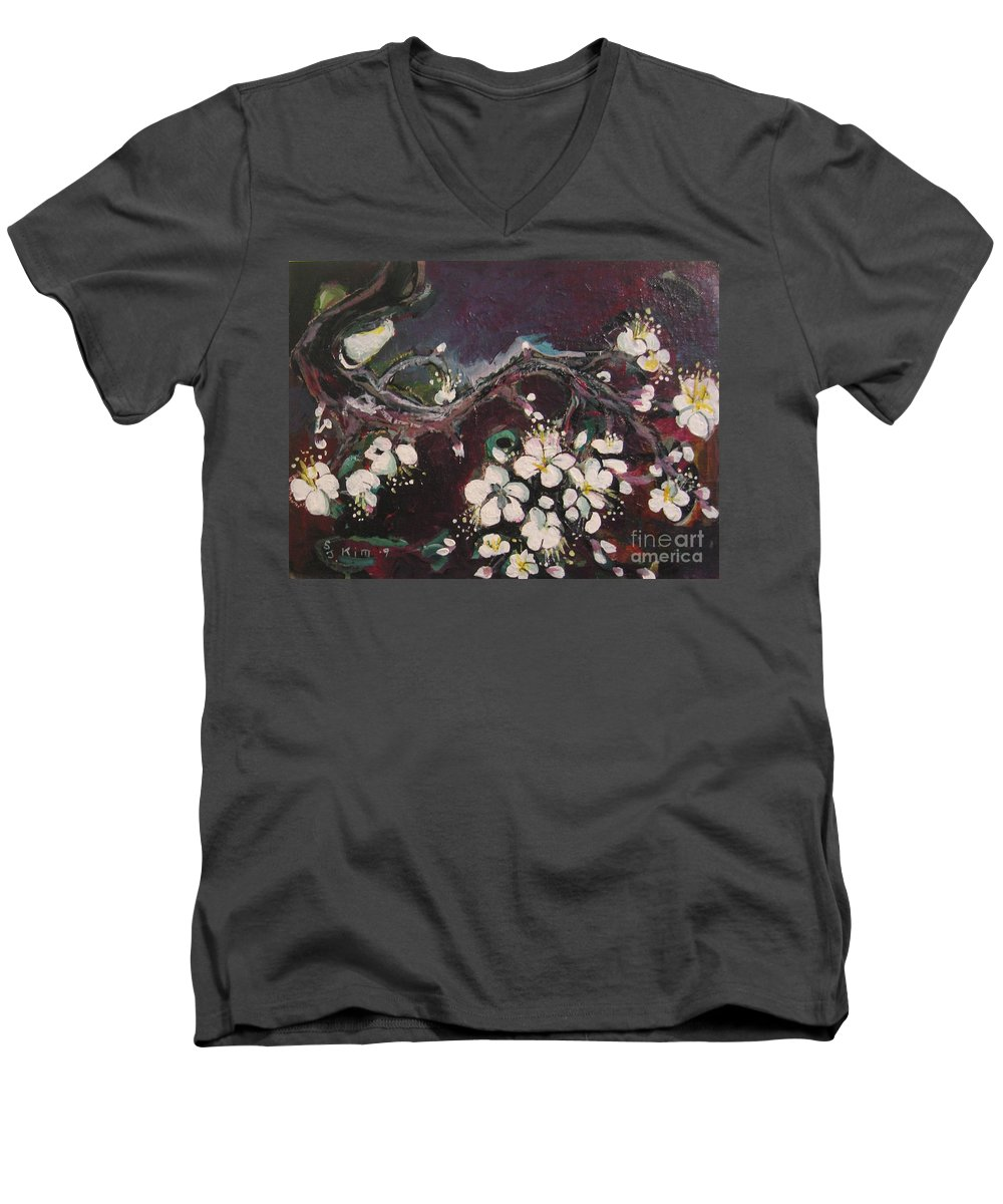 Ume Blossoms Paintings Men's V-Neck T-Shirt featuring the painting Ume Blossoms by Seon-Jeong Kim