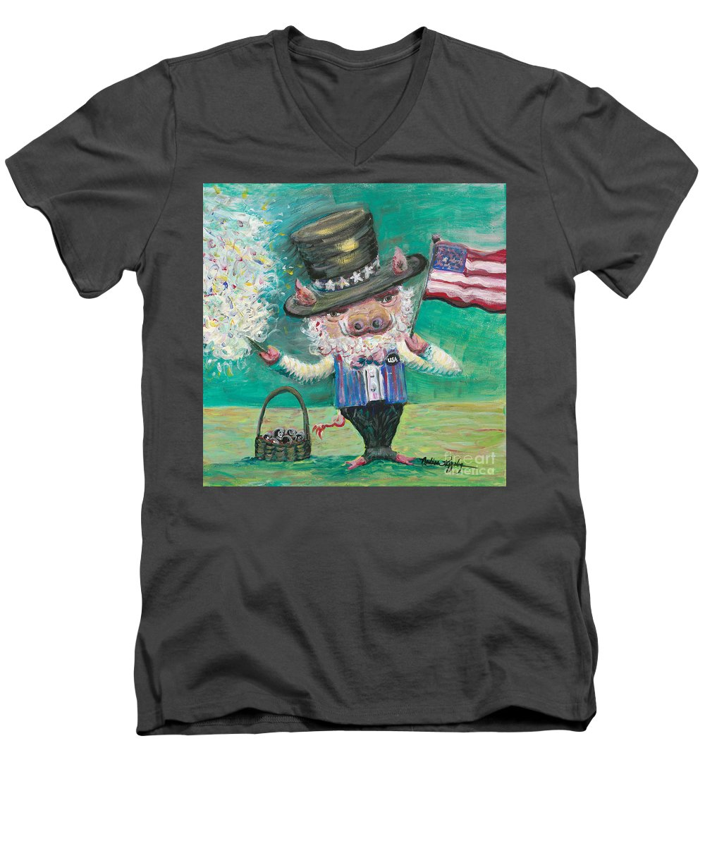Fourth Of July Men's V-Neck T-Shirt featuring the painting Uncle Spam by Nadine Rippelmeyer
