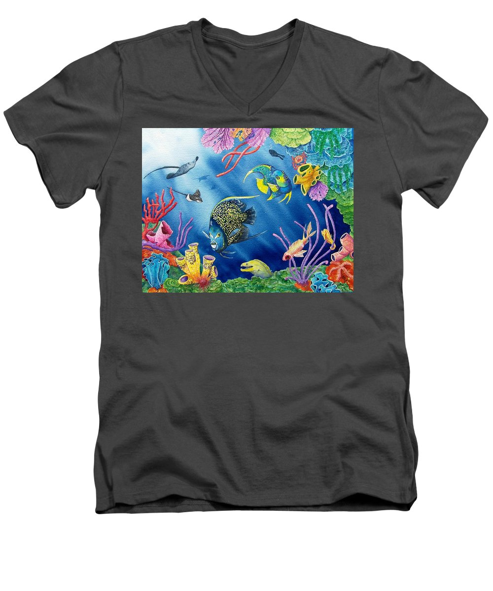 Undersea Men's V-Neck T-Shirt featuring the painting Undersea Garden by Gale Cochran-Smith