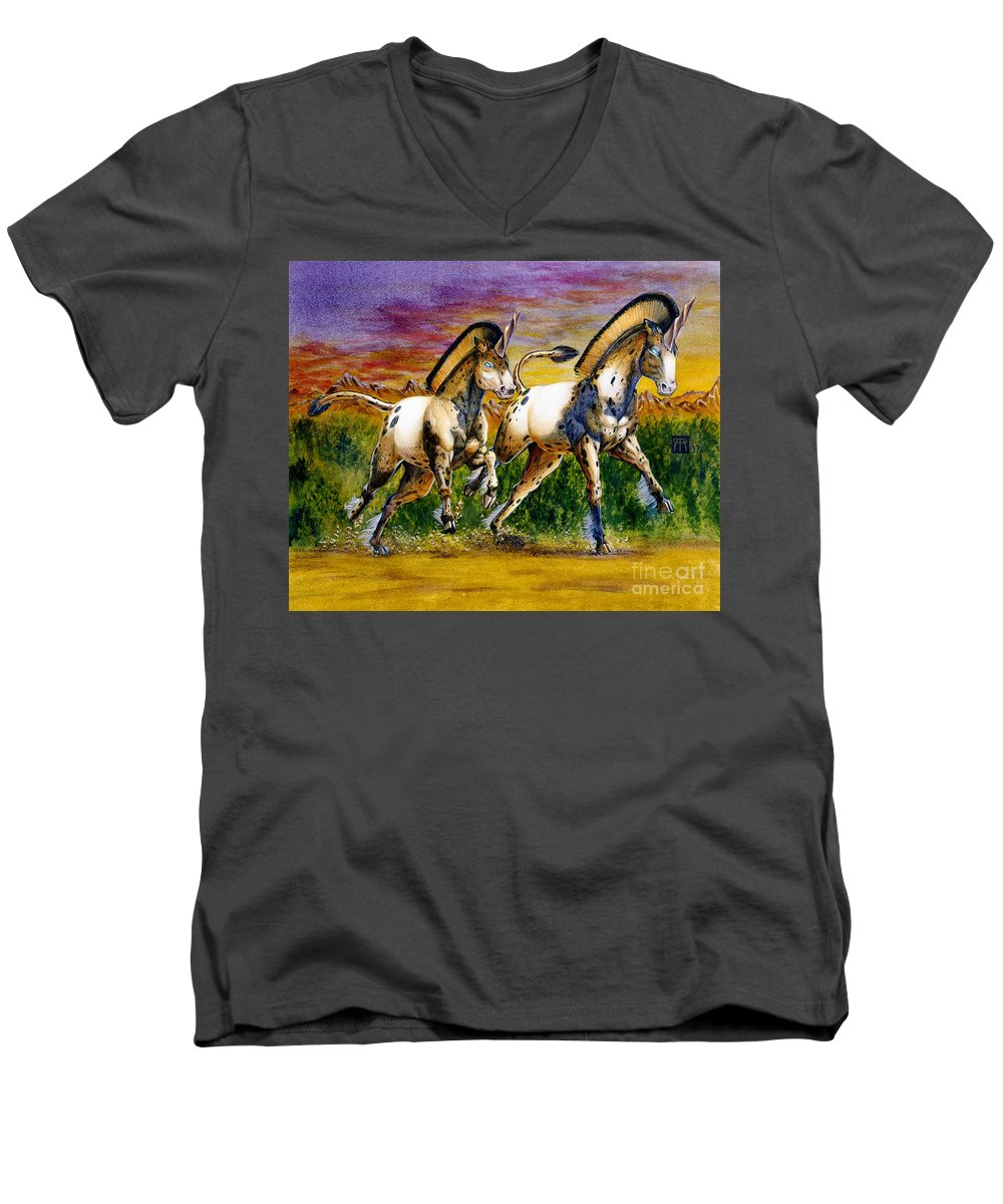 Artwork Men's V-Neck T-Shirt featuring the painting Unicorns In Sunset by Melissa A Benson