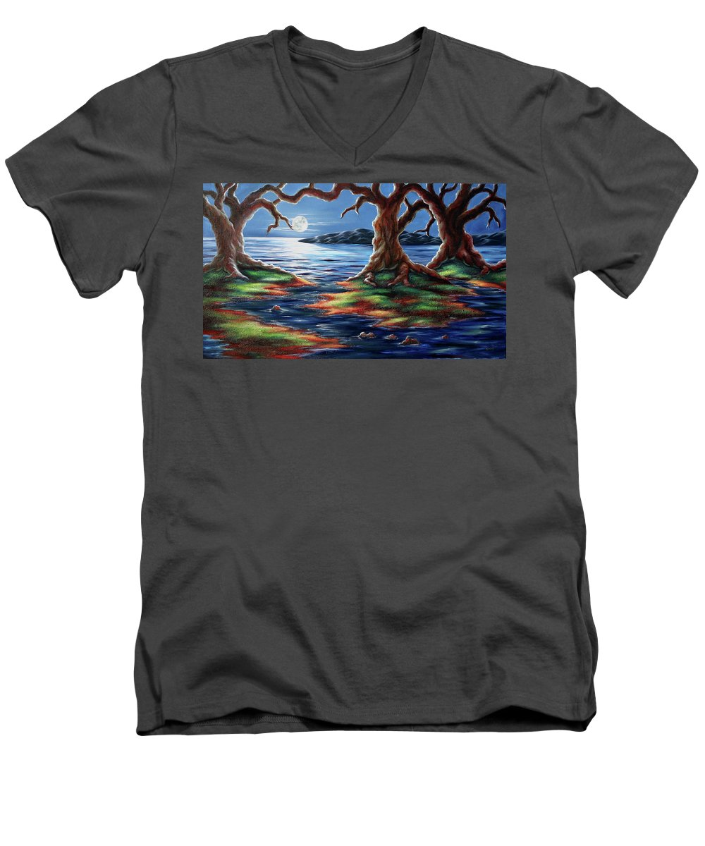 Textured Painting Men's V-Neck T-Shirt featuring the painting United Trees by Jennifer McDuffie
