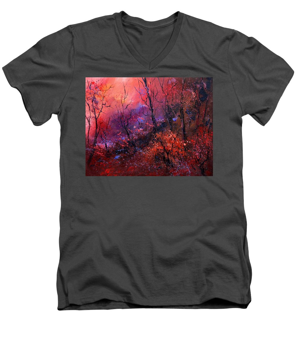 Wood Sunset Tree Men's V-Neck T-Shirt featuring the painting Unset In The Wood by Pol Ledent