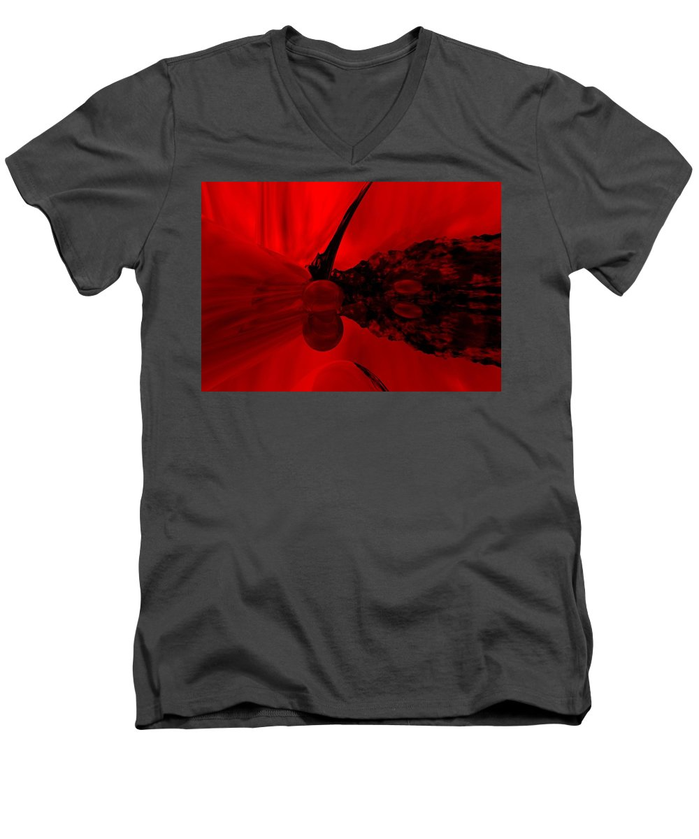 Abstract Men's V-Neck T-Shirt featuring the digital art Untitled by David Lane