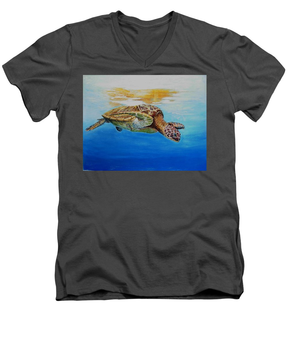 Wildlife Men's V-Neck T-Shirt featuring the painting Up For Some Rays by Ceci Watson