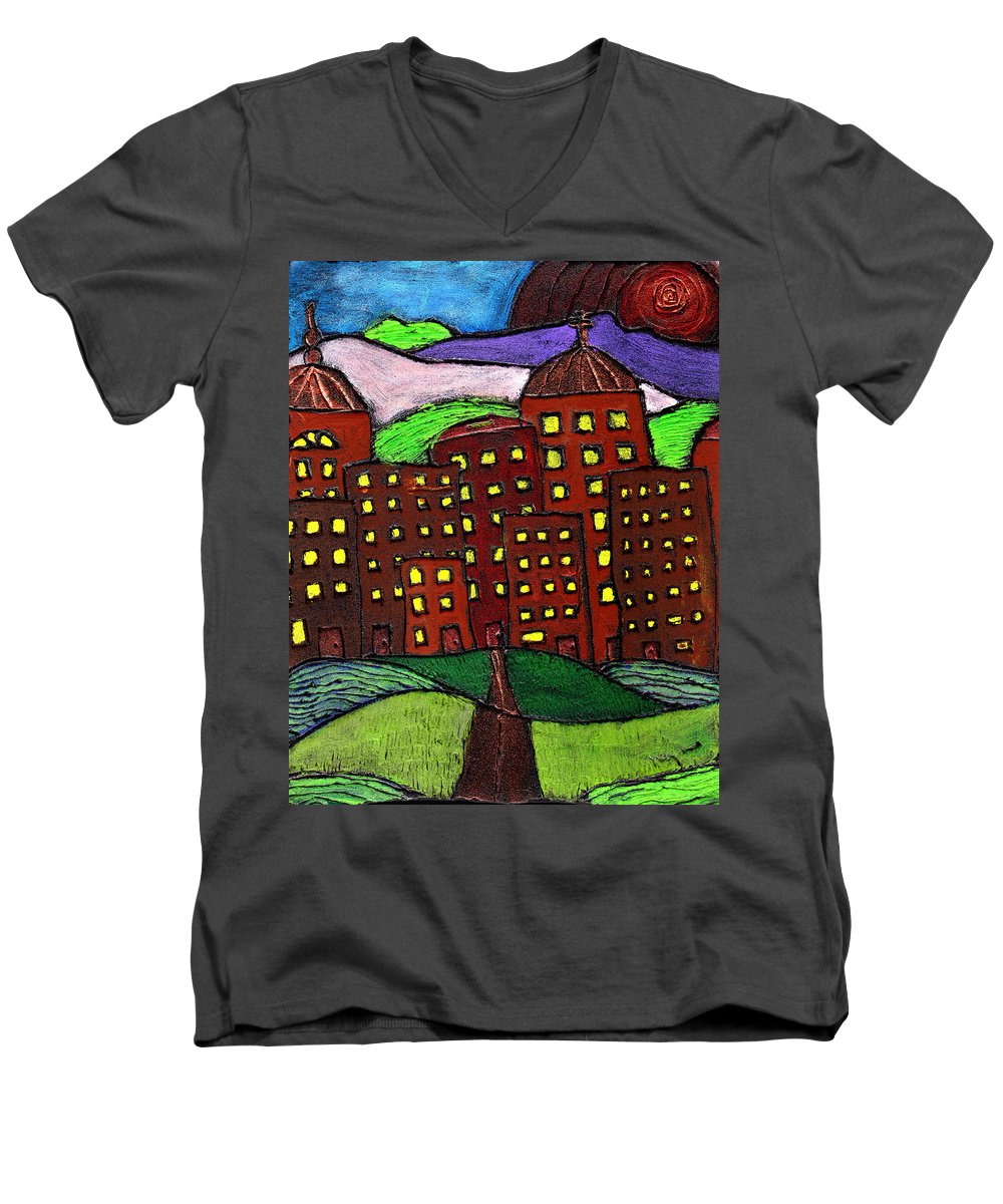 City Scape Men's V-Neck T-Shirt featuring the painting Urban Legand by Wayne Potrafka