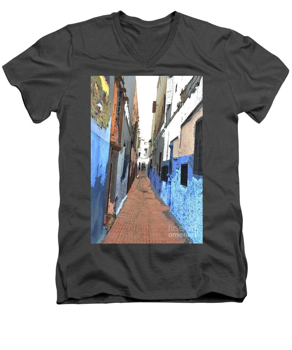 Urban Men's V-Neck T-Shirt featuring the photograph Urban Scene by Hana Shalom