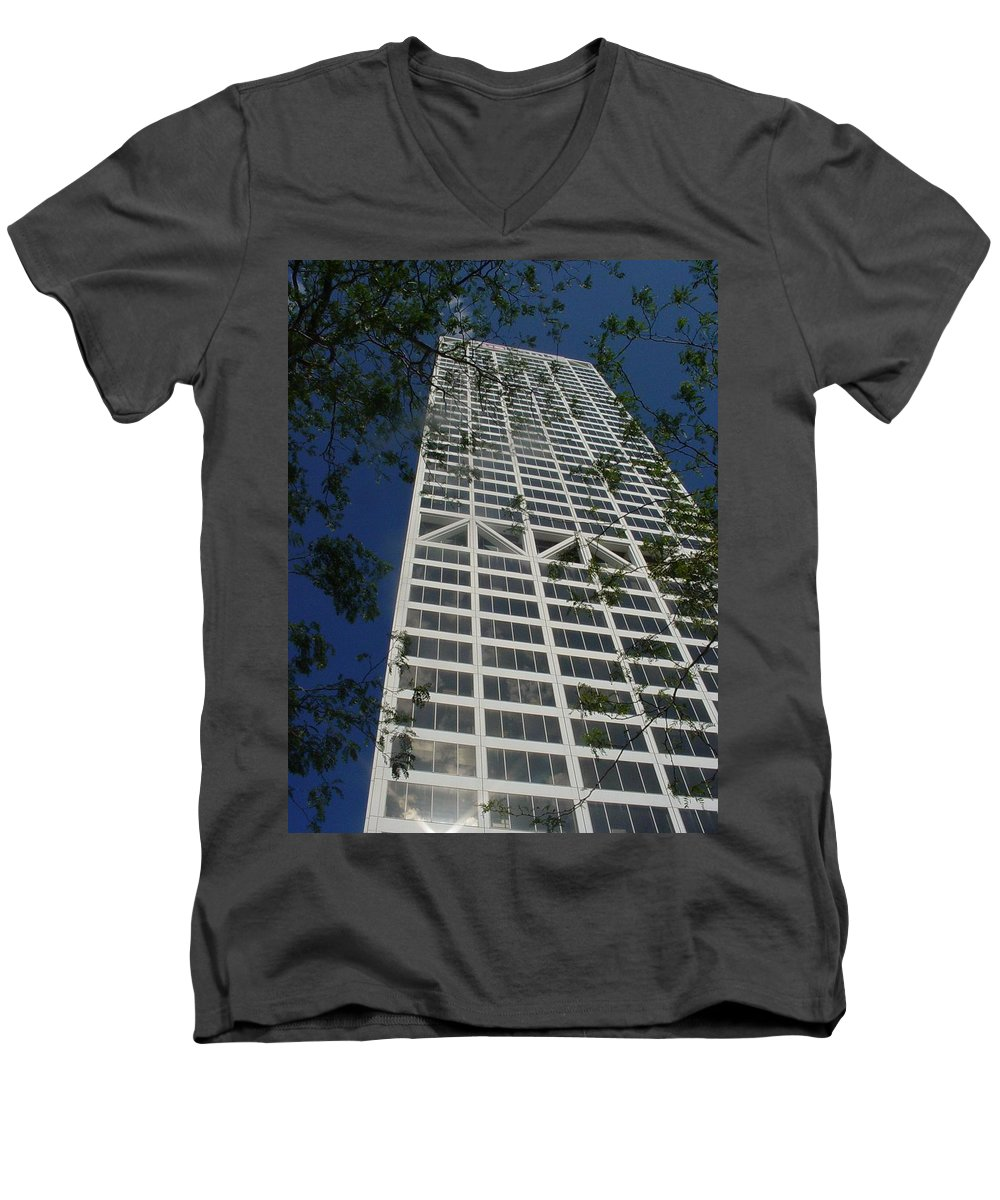 Us Bank Men's V-Neck T-Shirt featuring the photograph Us Bank With Trees by Anita Burgermeister