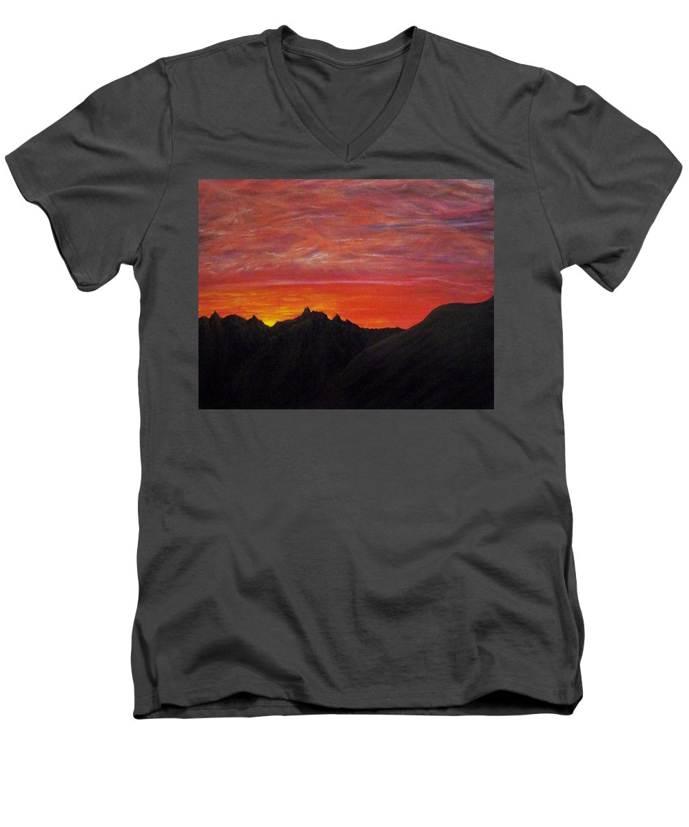 Sunset Men's V-Neck T-Shirt featuring the painting Utah Sunset by Michael Cuozzo