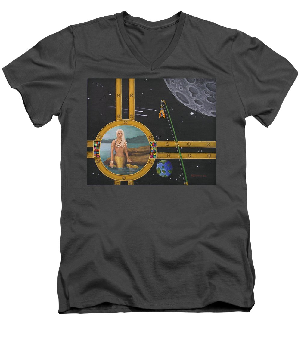 Fantasy Men's V-Neck T-Shirt featuring the painting Vacation Fishing For Mermaids by Roz Eve