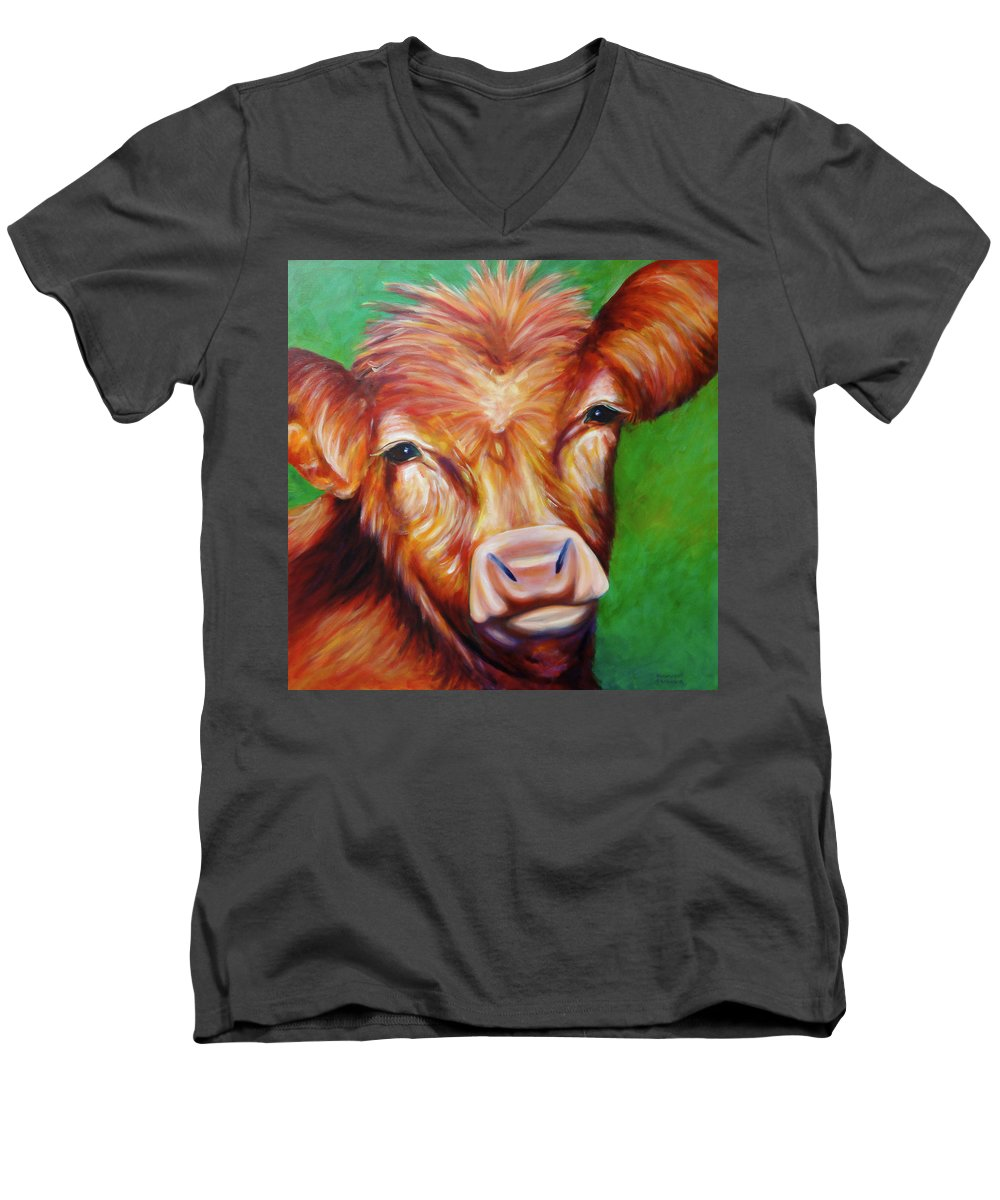 Bull Men's V-Neck T-Shirt featuring the painting Van by Shannon Grissom