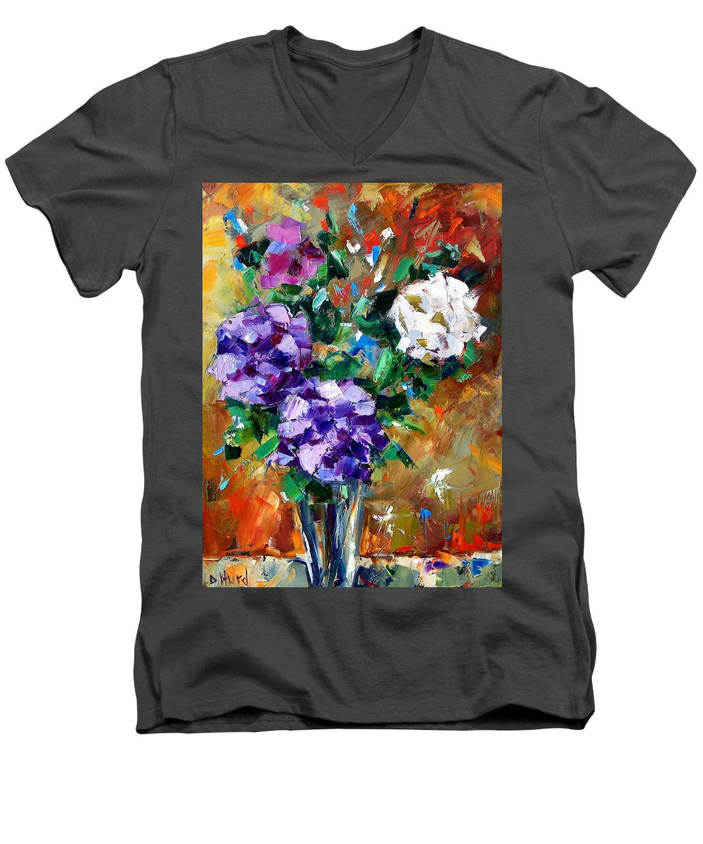 Flowers Men's V-Neck T-Shirt featuring the painting Vase Of Color by Debra Hurd