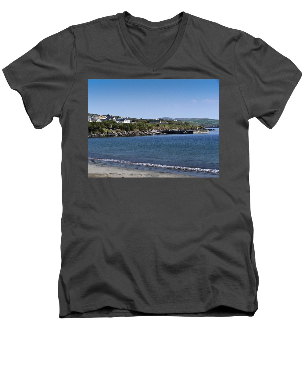 Irish Men's V-Neck T-Shirt featuring the photograph Ventry Beach And Harbor Ireland by Teresa Mucha
