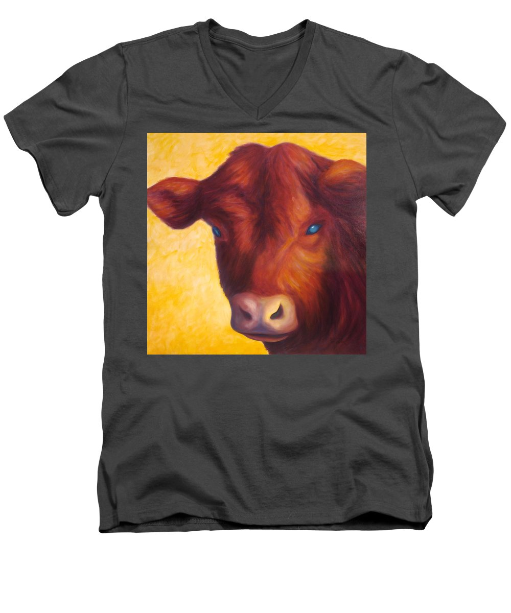 Bull Men's V-Neck T-Shirt featuring the painting Vern by Shannon Grissom