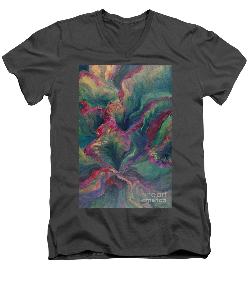 Leaves Men's V-Neck T-Shirt featuring the painting Vibrant Leaves by Nadine Rippelmeyer