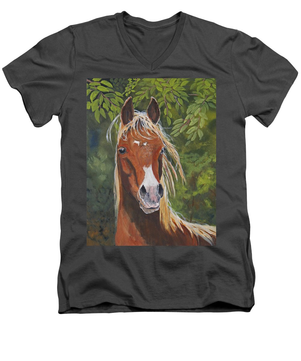 Horse Men's V-Neck T-Shirt featuring the painting Victory by Heather Coen