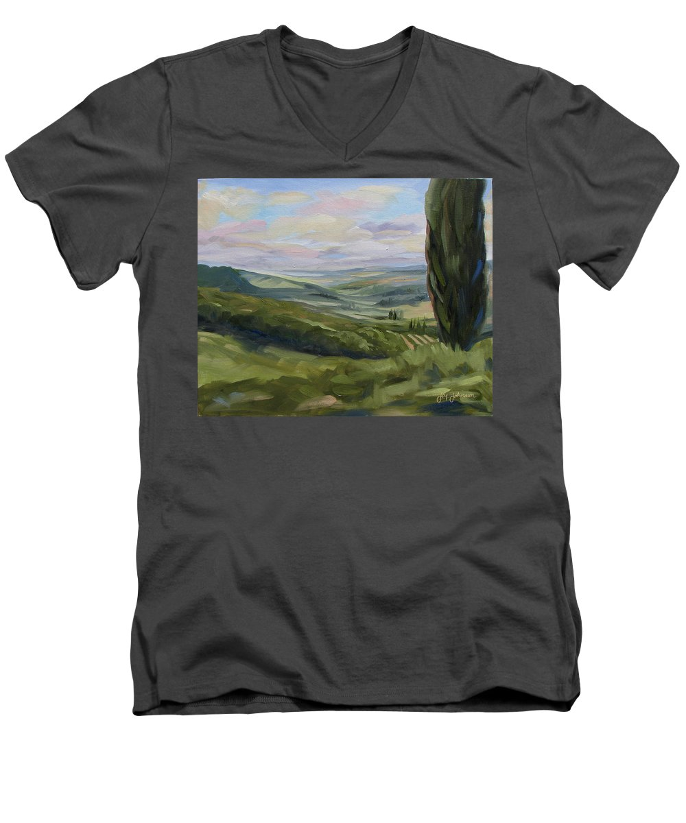 Landscape Men's V-Neck T-Shirt featuring the painting View From Sienna by Jay Johnson
