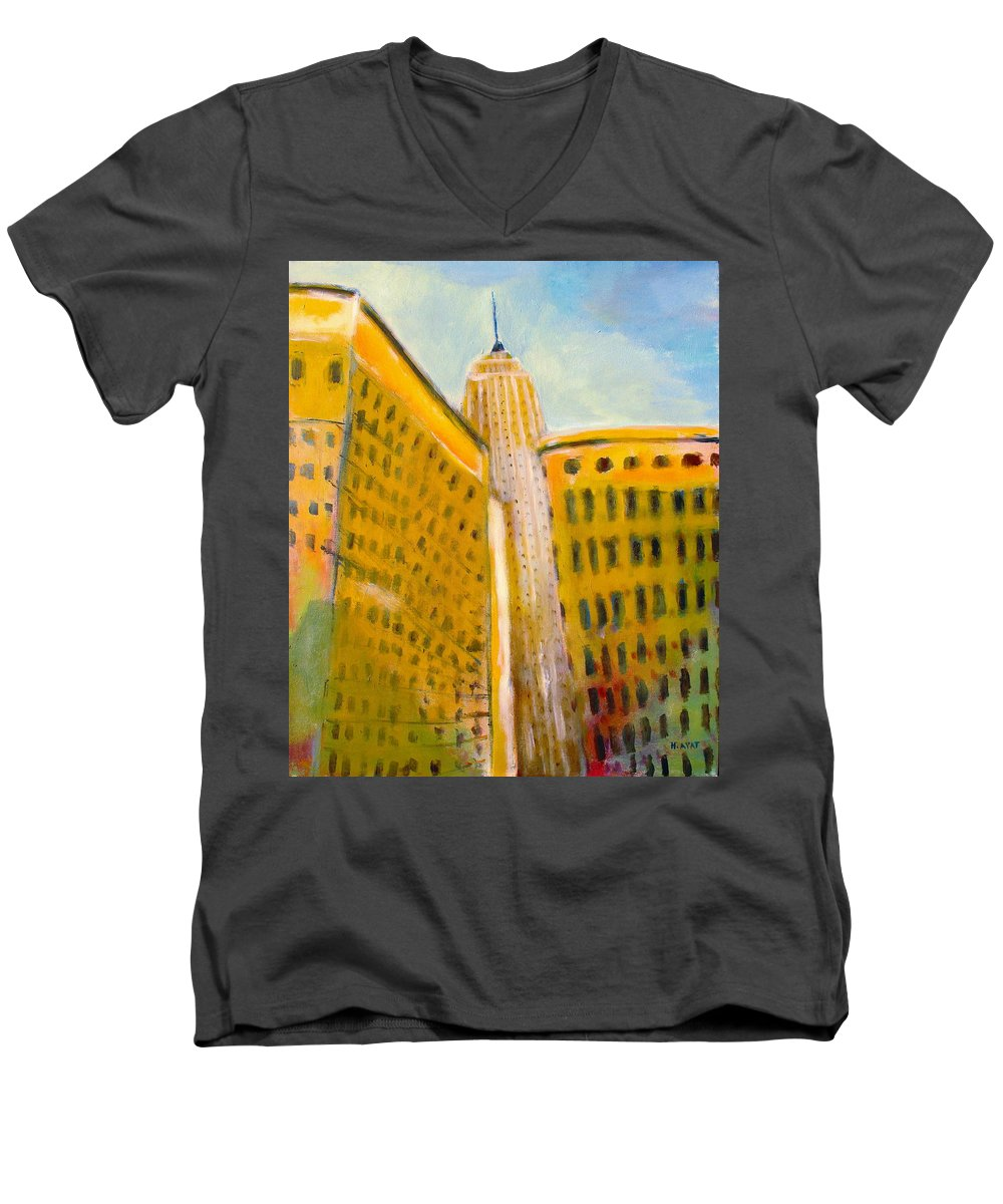 Abstract Cityscape Men's V-Neck T-Shirt featuring the painting View From The 33 St by Habib Ayat