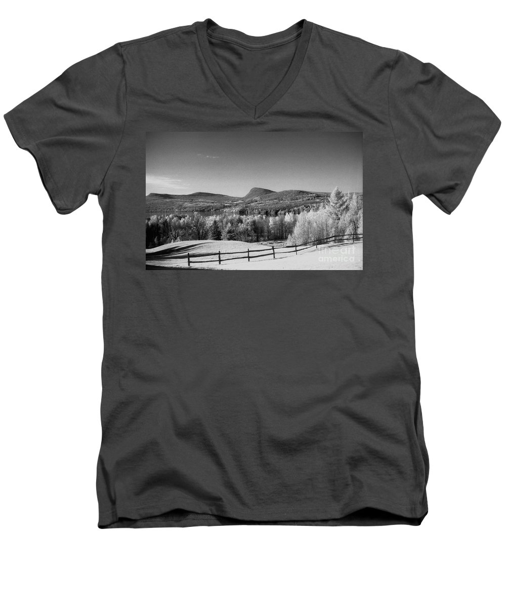 Landscape Men's V-Neck T-Shirt featuring the photograph View Of Lake Willoughby by Richard Rizzo