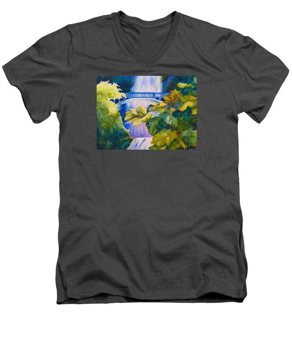Waterfall Men's V-Neck T-Shirt featuring the painting View Of The Bridge by Karen Stark