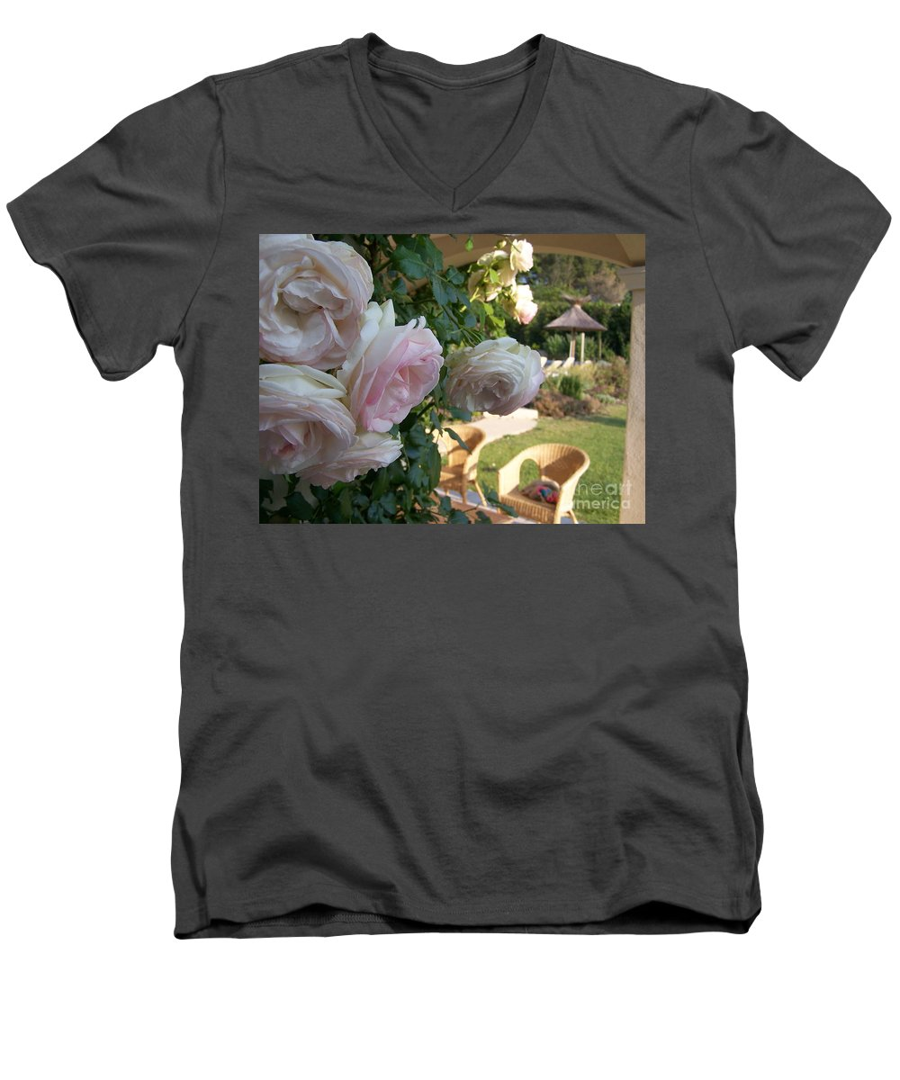 Roses Men's V-Neck T-Shirt featuring the photograph Villa Roses by Nadine Rippelmeyer