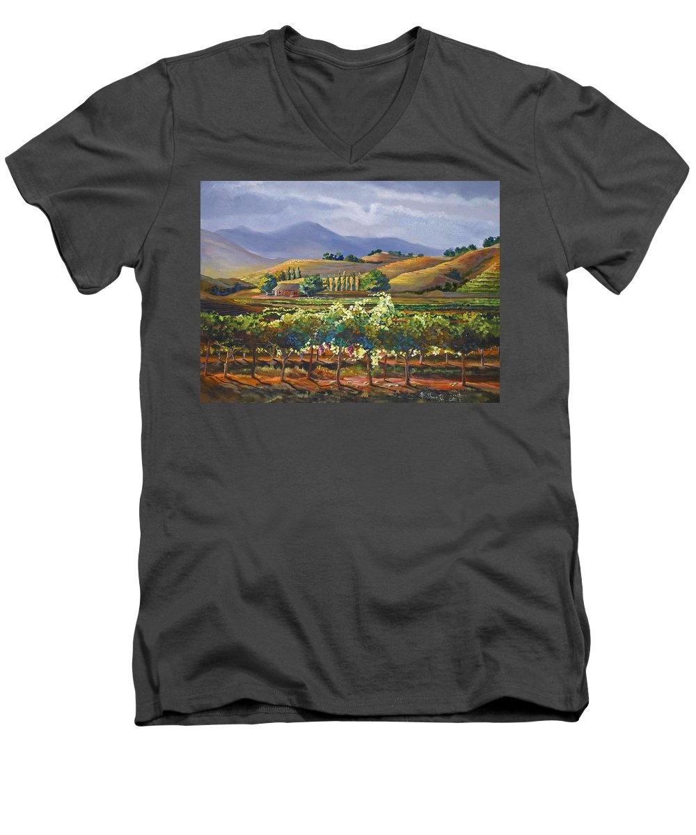 Vineyard Men's V-Neck T-Shirt featuring the painting Vineyard In California by Heather Coen