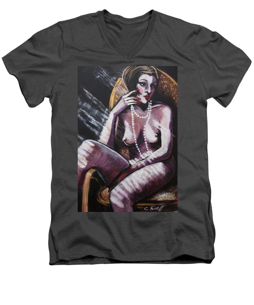Original Men's V-Neck T-Shirt featuring the painting Vintage Years - White Pearls by Carmen Tyrrell