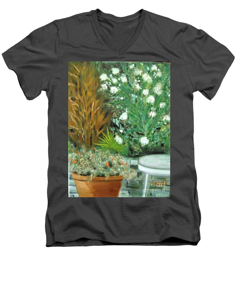 Virginia Men's V-Neck T-Shirt featuring the painting Virginia's Garden by Laurie Morgan