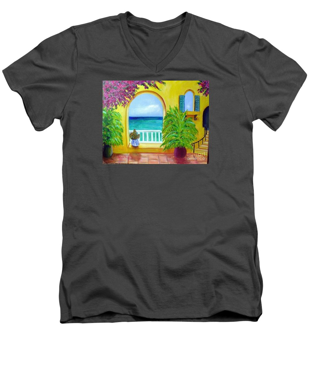 Patio Men's V-Neck T-Shirt featuring the painting Vista Del Agua by Laurie Morgan