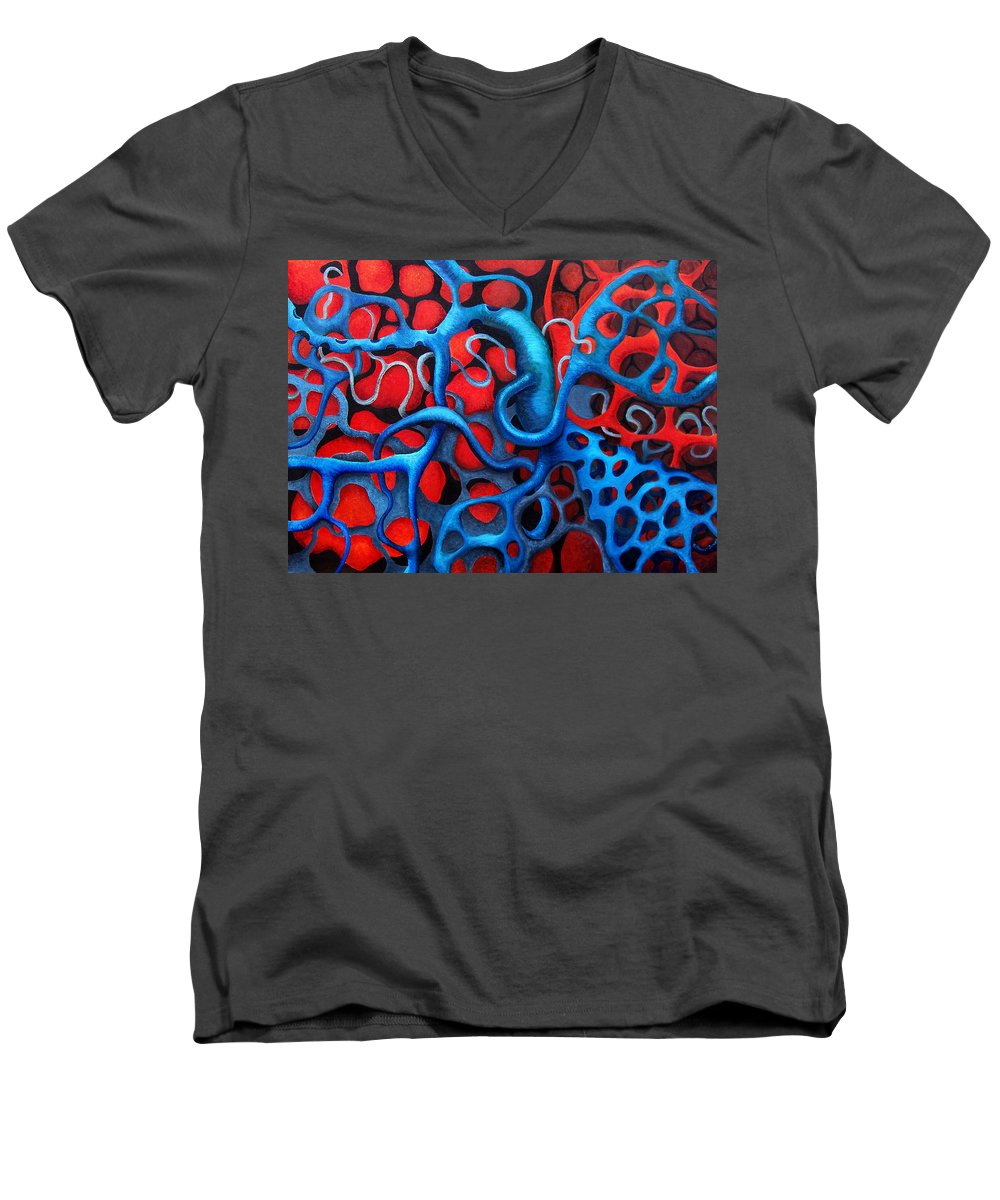 Abstract Men's V-Neck T-Shirt featuring the painting Vital Network 2 by Nancy Mueller
