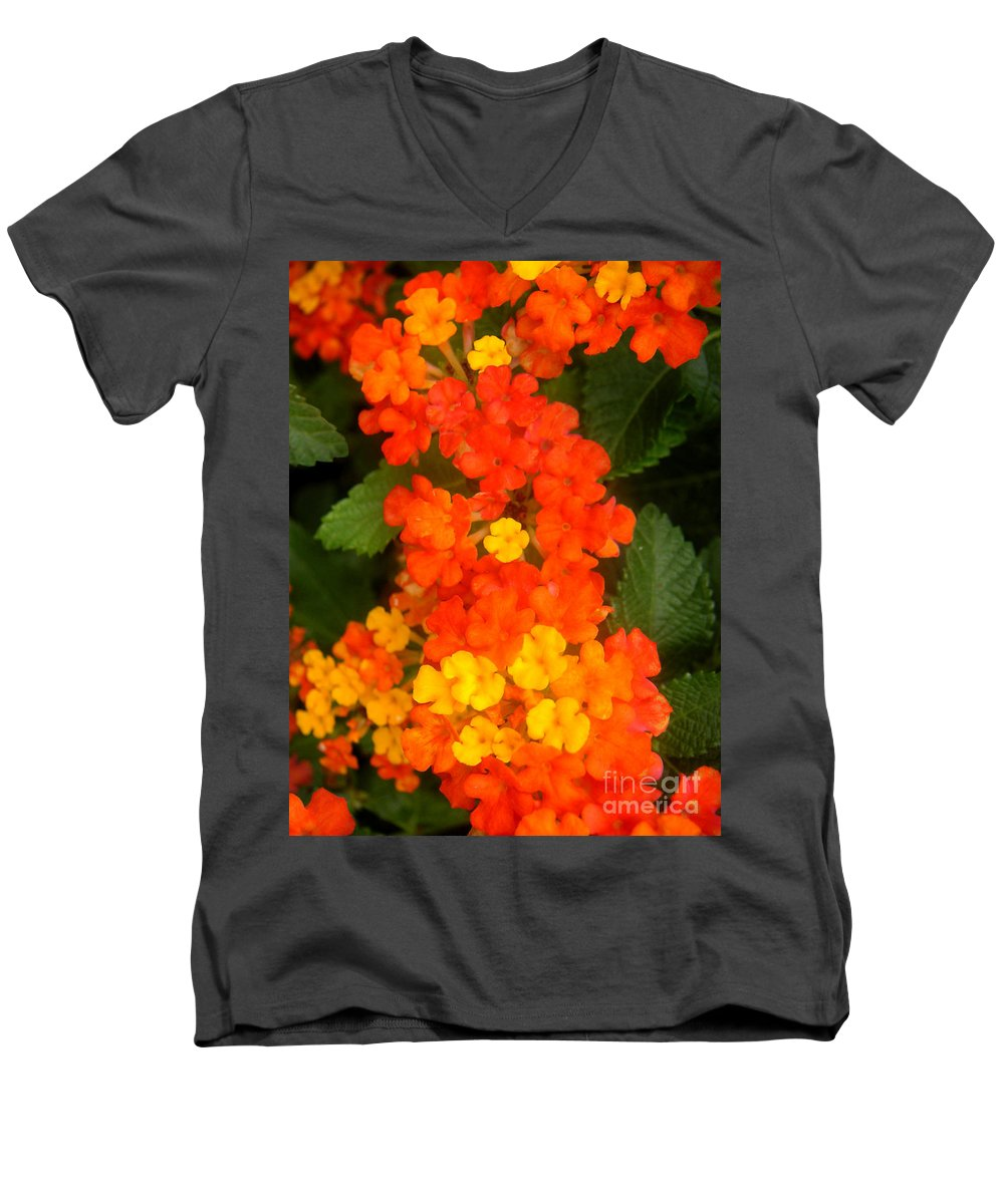 Nature Men's V-Neck T-Shirt featuring the photograph Volcanic Display by Lucyna A M Green
