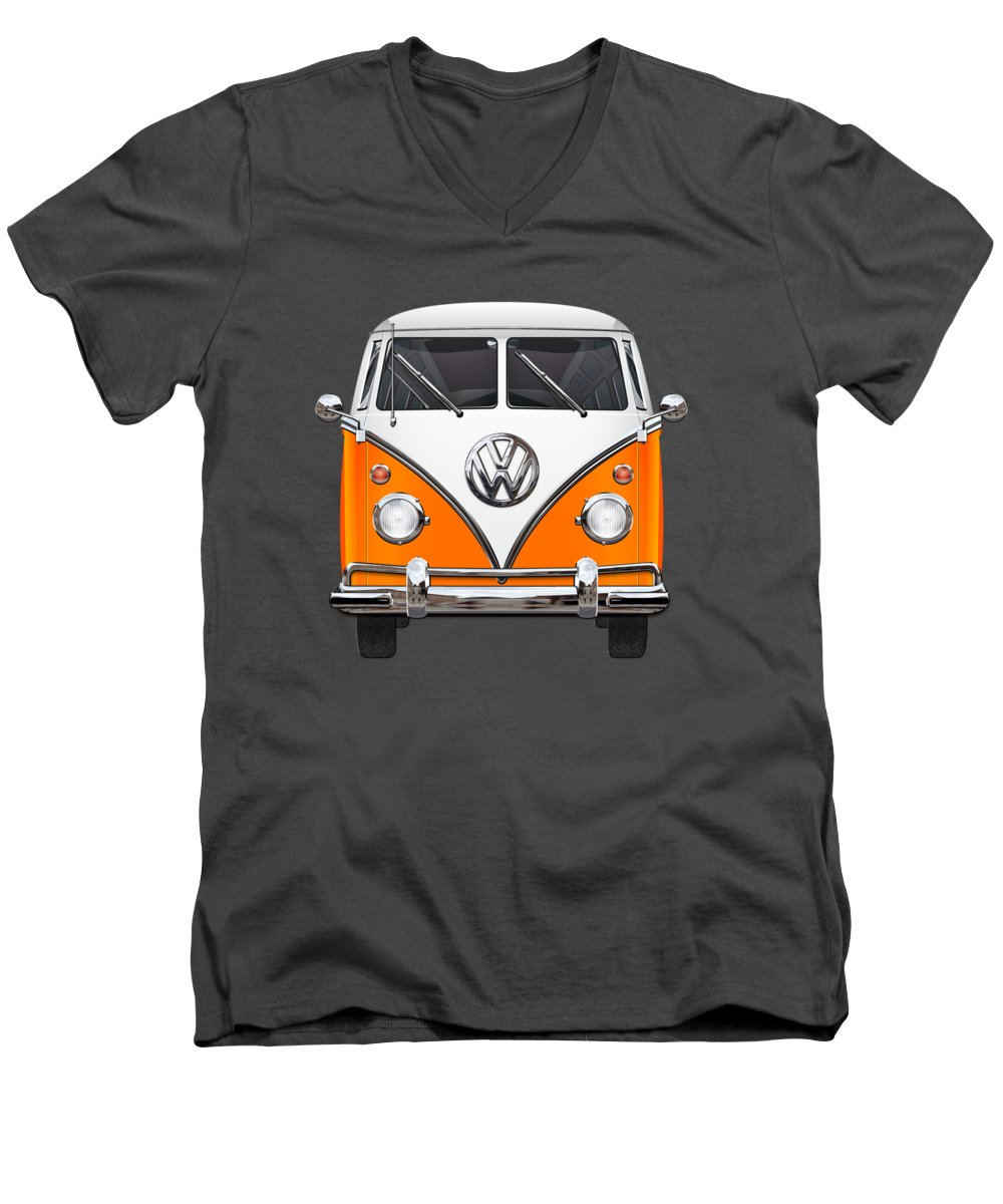 'volkswagen Type 2' Collection By Serge Averbukh Men's V-Neck T-Shirt featuring the photograph Volkswagen Type - Orange And White Volkswagen T 1 Samba Bus Over Blue Canvas by Serge Averbukh