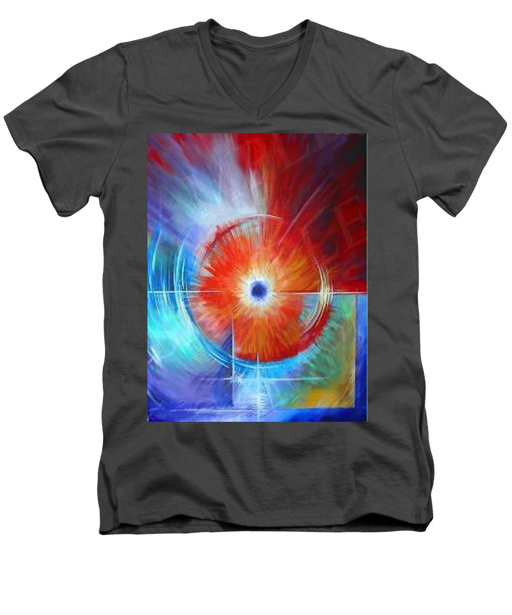 Clouds Men's V-Neck T-Shirt featuring the painting Vortex by James Christopher Hill